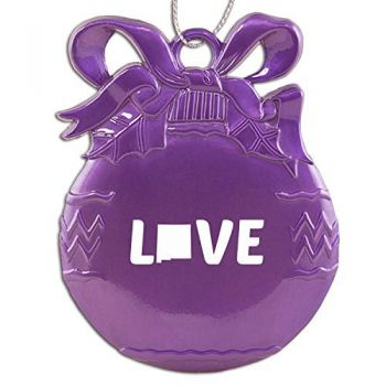New Mexico-State Outline-Love-Christmas Tree Ornament-Purple