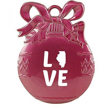 Illinois-State Outline-Love-Christmas Tree Ornament-Pink