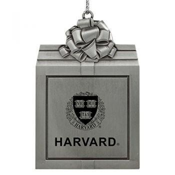 Harvard University -Pewter Christmas Holiday Present Ornament-Silver