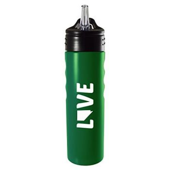 Nevada-State Outline-Love-Stainless Steel Grip Water Bottle with Straw-Green