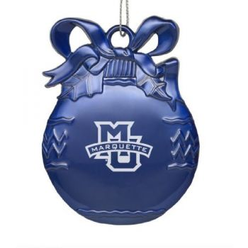 Marquette University - Pewter Christmas Tree Ornament - Blue