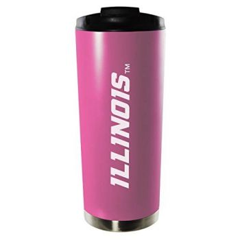 University of Illinois at Urbana–Champaign-16oz. Stainless Steel Vacuum Insulated Travel Mug Tumbler-Pink