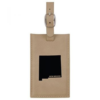 New Mexico-State Outline-Leatherette Luggage Tag -Tan