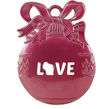 New Hampshire-State Outline-Love-Christmas Tree Ornament-Pink