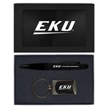Eastern Kentucky University -Executive Twist Action Ballpoint Pen Stylus and Gunmetal Key Tag Gift Set-Black