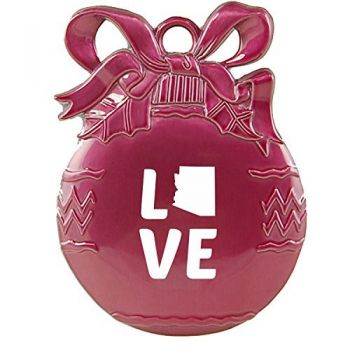 Arizona-State Outline-Love-Christmas Tree Ornament-Pink