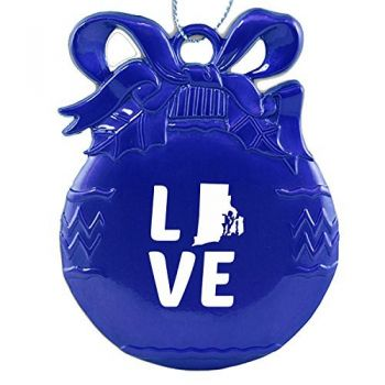 Rhode Island-State Outline-Love-Christmas Tree Ornament-Blue