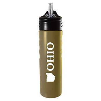 Ohio-State Outline-Stainless Steel Grip Water Bottle with Straw-Gold