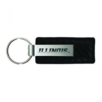 University of Illinois-Carbon Fiber Leather and Metal Key Tag-Black