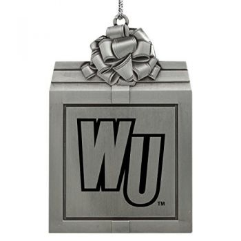 Winthrop University -Pewter Christmas Holiday Present Ornament-Silver