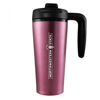 Northwestern State University -16 oz. Travel Mug Tumbler with Handle-Pink