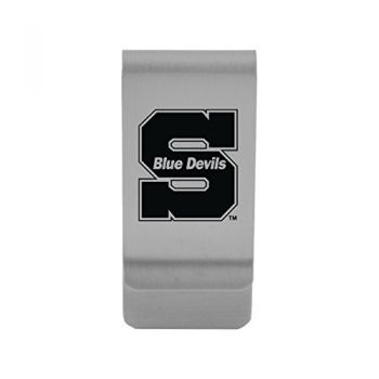 University of Wisconsin-Stout|Money Clip with Contemporary Metals Finish|Solid Brass|High Tension Clip to Securely Hold Cash, Cards and ID's|Gold