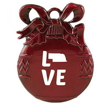 Nebraska-State Outline-Love-Christmas Tree Ornament-Burgundy