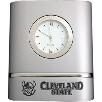 Cleveland State University- Two-Toned Desk Clock -Silver