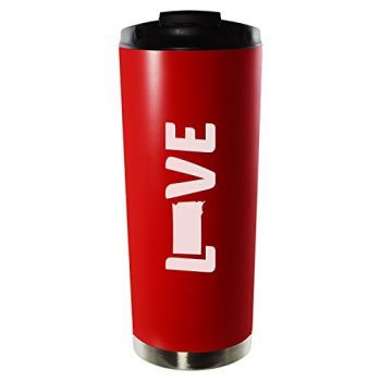 Tennessee-State Outline-Love-16oz. Vacuum Sealed Travel Mug-Red