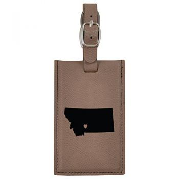 Montana-State Outline-Heart-Leatherette Luggage Tag -Brown