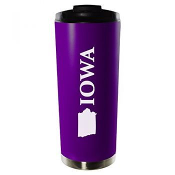 16 oz Vacuum Insulated Tumbler with Lid - Iowa State Outline - Iowa State Outline