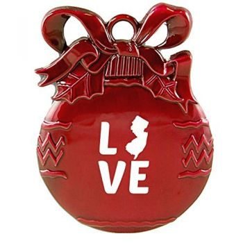 New Jersey-State Outline-Love-Christmas Tree Ornament-Red