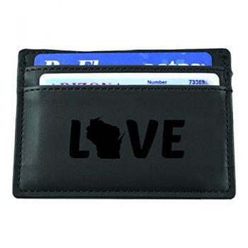 Wisconsin-State Outline-Love-European Money Clip Wallet-Black