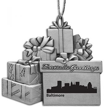Baltimore, Maryland-Pewter Gift Package Ornament-Silver