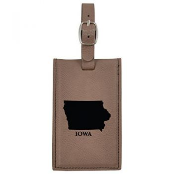 Iowa-State Outline-Leatherette Luggage Tag -Brown