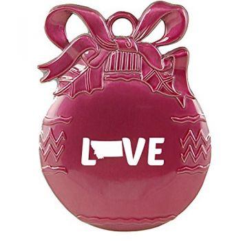 Montana-State Outline-Love-Christmas Tree Ornament-Pink