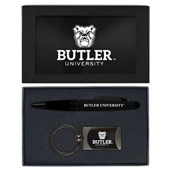 Butler University -Executive Twist Action Ballpoint Pen Stylus and Gunmetal Key Tag Gift Set-Black