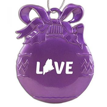 Maine-State Outline-Love-Christmas Tree Ornament-Purple