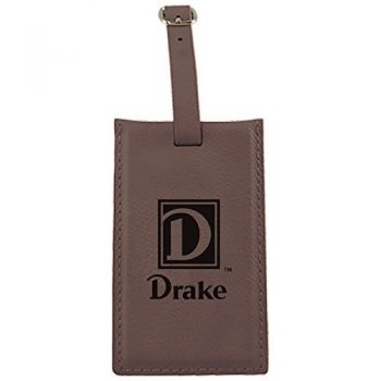 Drake University-Leatherette Luggage Tag-Brown