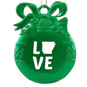 Arkansas-State Outline-Love-Christmas Tree Ornament-Green