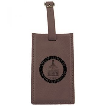 University of Southern Mississippi-Leatherette Luggage Tag-Brown