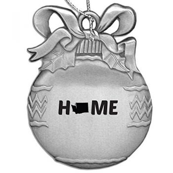 Washington-State Outline-Home-Christmas Tree Ornament-Silver