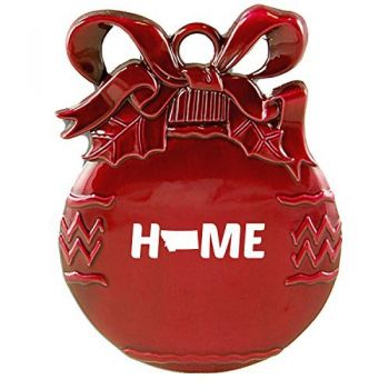 Montana-State Outline-Home-Christmas Tree Ornament-Red