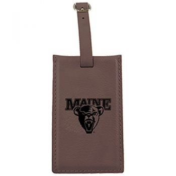 University of Maine-Leatherette Luggage Tag-Brown