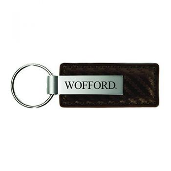 Wofford College-Carbon Fiber Leather and Metal Key Tag-Taupe