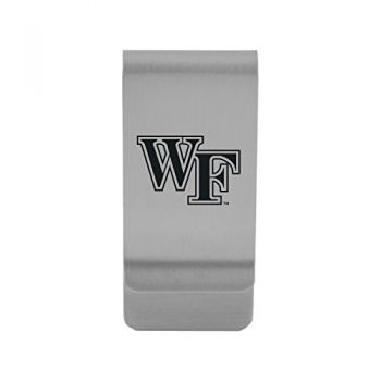 Wake Forest University|Money Clip with Contemporary Metals Finish|Solid Brass|High Tension Clip to Securely Hold Cash, Cards and ID's|Gold