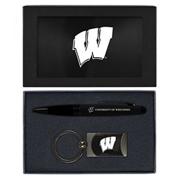 University of Wisconsin -Executive Twist Action Ballpoint Pen Stylus and Gunmetal Key Tag Gift Set-Black