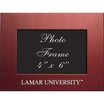Lamar University - 4x6 Brushed Metal Picture Frame - Red