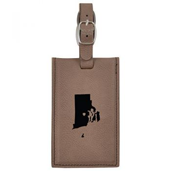 Rhode Island-State Outline-Heart-Leatherette Luggage Tag -Brown