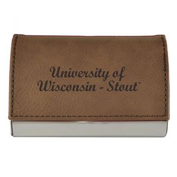 Velour Business Cardholder-University of Wisconsin-Stout-Brown