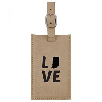 Indiana-State Outline-Love-Leatherette Luggage Tag -Tan