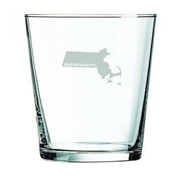13 oz Cocktail Glass - Massachusetts State Outline - Massachusetts State Outline