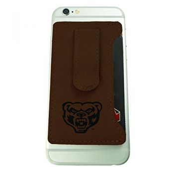 Oakland University -Leatherette Cell Phone Card Holder-Brown