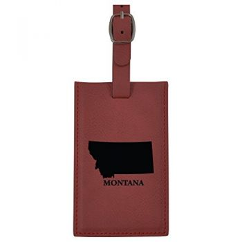 Montana-State Outline-Leatherette Luggage Tag -Burgundy