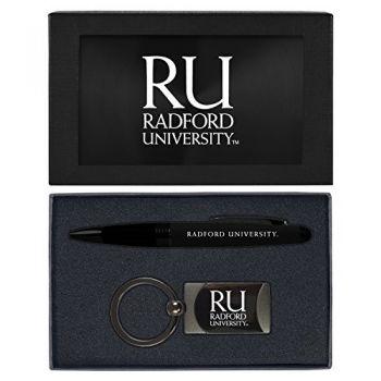 Radford University -Executive Twist Action Ballpoint Pen Stylus and Gunmetal Key Tag Gift Set-Black