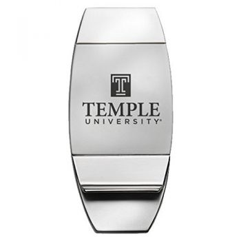Temple University - Two-Toned Money Clip - Silver