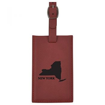 New York-State Outline-Leatherette Luggage Tag -Burgundy