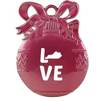 Kentucky-State Outline-Love-Christmas Tree Ornament-Pink