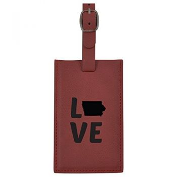 Iowa-State Outline-Love-Leatherette Luggage Tag -Burgundy