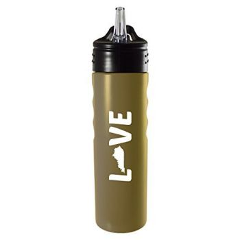 Kentucky-State Outline-Love-Stainless Steel Grip Water Bottle with Straw-Gold